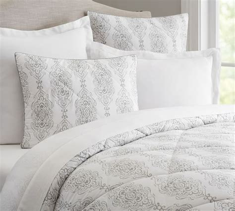comforter and sham dessi print reversible comforter sham gray pottery barn
