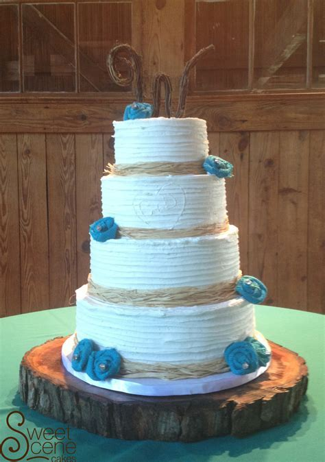Rustic Teal Wedding Cake   CakeCentral.com