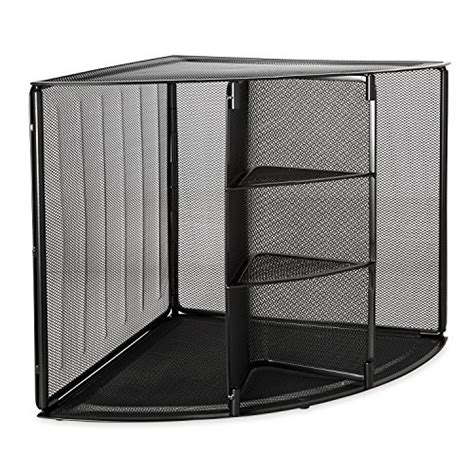 Desktop Shelf Office Black Storage Book Paper File Corner Desk Shelf Organizer