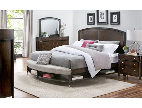 slumberland broyhill vibe collection pc cherry qn bedroom pkg furniture ideas bed bench