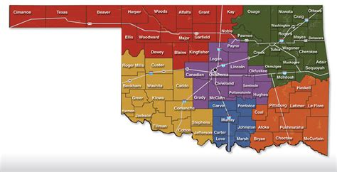 oklahoma county map visitor attractions in oklahoma by county