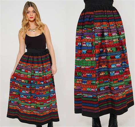 vintage 70s mexican skirt embroidered ethnic maxi skirt