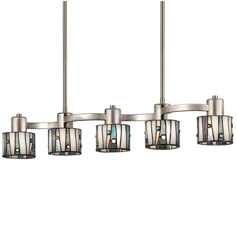 lowes pendant lights kitchen shop portfolio 32 in w 5 light brushed nickel kitchen island light with tiffany style shade at