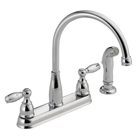 delta foundations  handle standard kitchen faucet  side sprayer  chrome lf