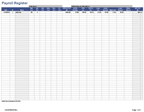 payroll register template payroll template free employee payroll template for excel