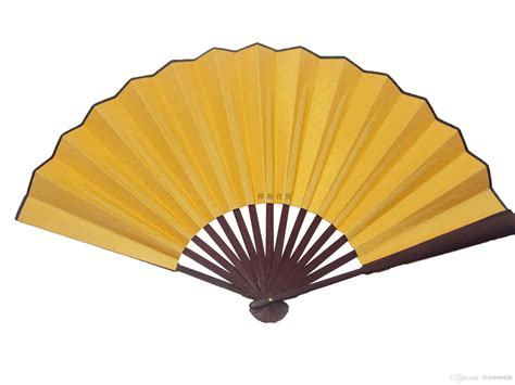 fancy hand fans wholesale large blank yellow silk foldable party favor gifts hand