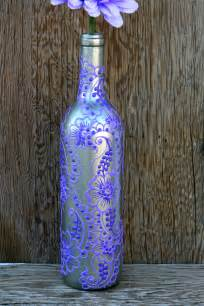 painted wine bottle vase up cycled silver and by