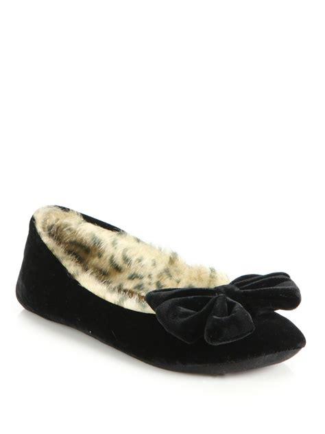 black fur slippers kate spade velvet faux fur slippers in black