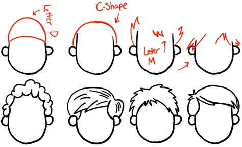 step by step instructions teen boys hair how to draw boys and mens hair styles for cartoon