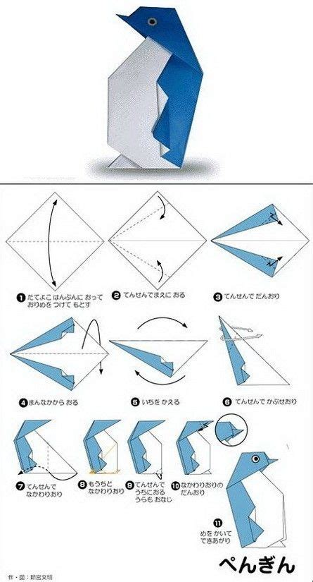 Origami Penguin Easy - printable origami animals book covers