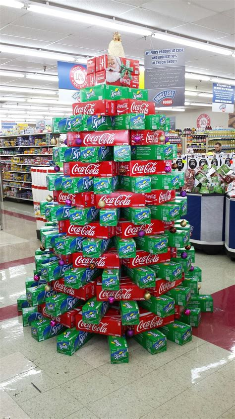 christmas coke sprite tree grocery store displays