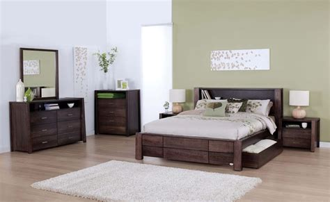 bed suites forty winks aurora modern dark wood stained bedroom