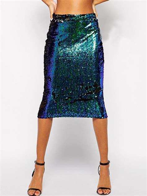 green sequin high waist pencil midi skirt withchic
