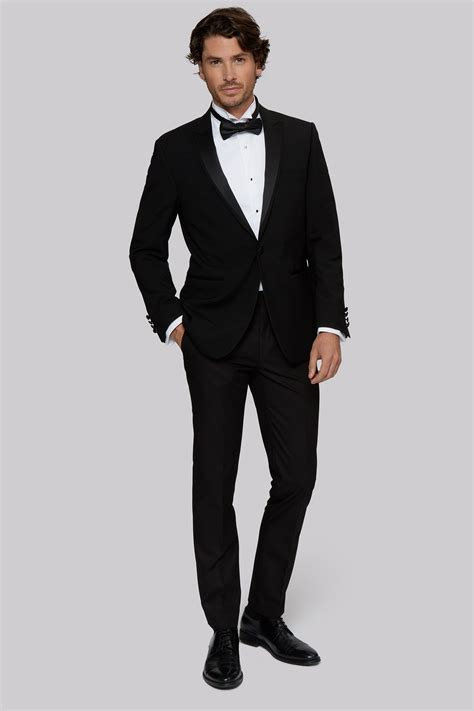 Black Formal Style Suit 41444 moss 1851 tailored fit black satin peak lapel tuxedo jacket