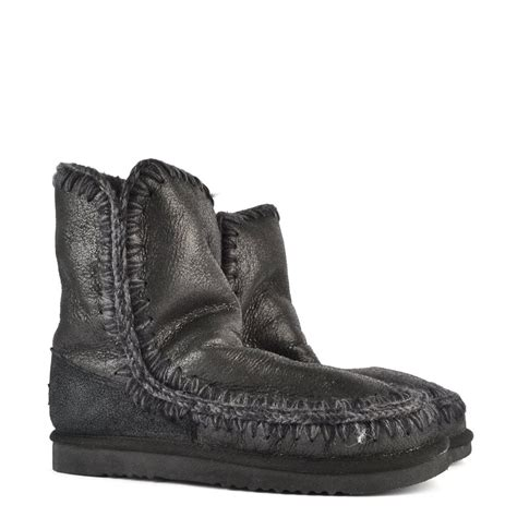 buy mou boots eskimo 24cm cracked black shearling boot