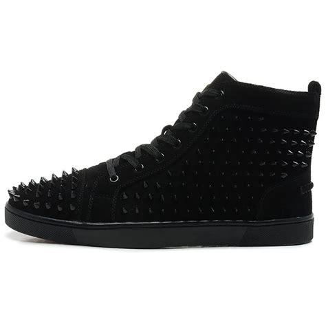 all black sneakers mens cheap christian louboutin louis spikes mens flat high top