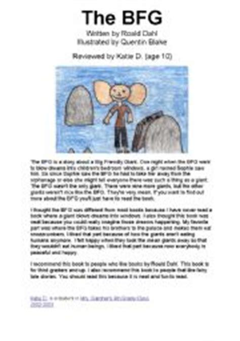 bfg book report worksheets the bfg sle book report