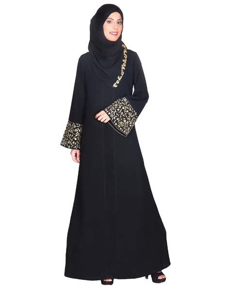 Abaya Gold black abaya with gold zari embroidered bell sleeve