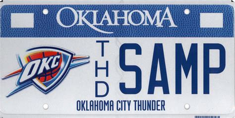 oklahoma tax commission oklahoma city thunder license plate