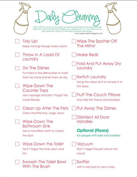 cleaning supplies checklist daily cleaning schedules supply list and home on pinterest