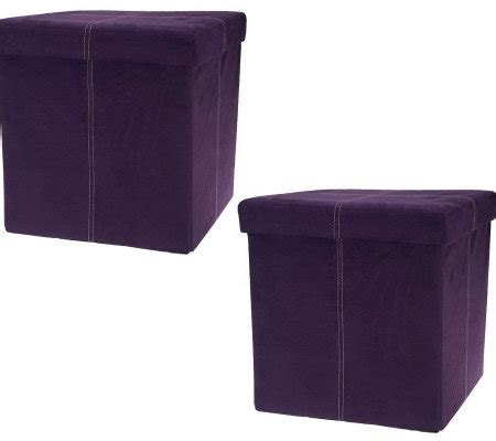 microsuede storage ottoman microsuede set of 2 15 quot folding storage ottomans by fhe