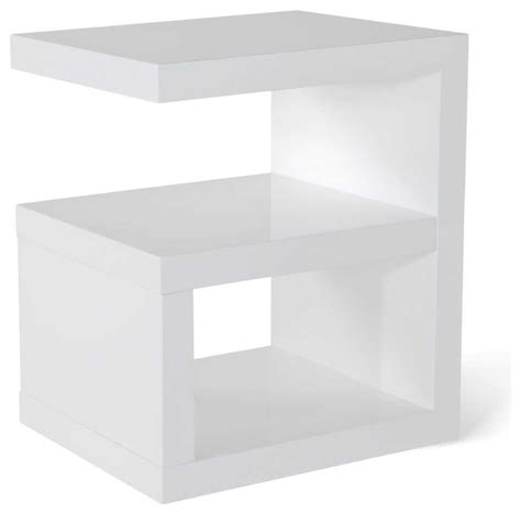 White Gloss Side Table High Gloss Modern Side Table White Contemporary Side Tables And End Tables By