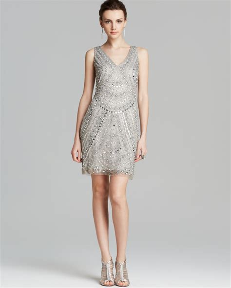 beaded silver dress aidan mattox dress sleeveless v neck beaded in silver lyst