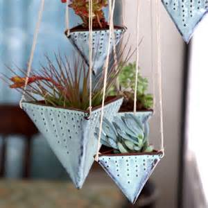 geometric hanging planter triangle pot with dots design