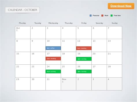 keynote template calendar 2012 october