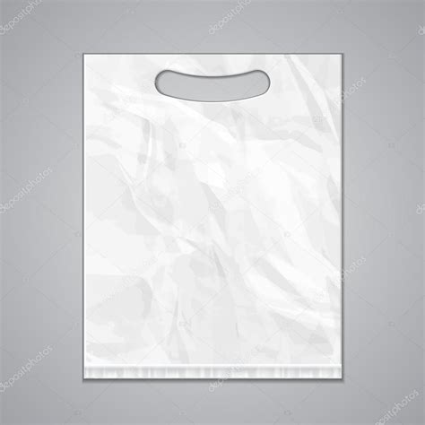 Disposable Plastic Bag Package Grayscale Template On White Background Isolated Mock Up Plastic Bag Design Template