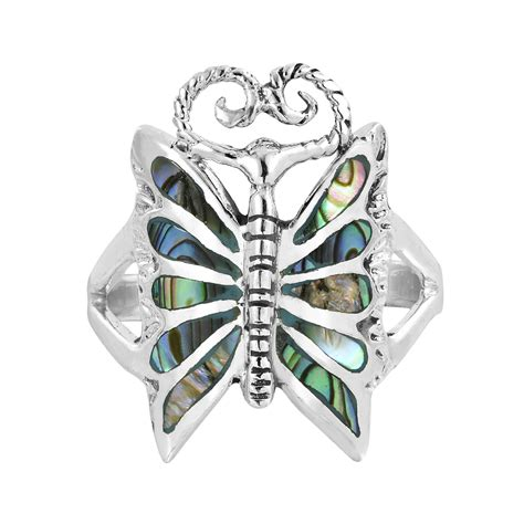 Abalone Shell Composite I mystique butterfly abalone shell inlay 925 silver ring 7