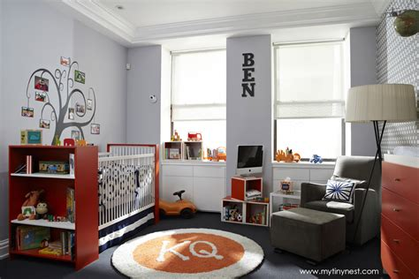 baby boys rooms design reveal modern gray and orange nursery