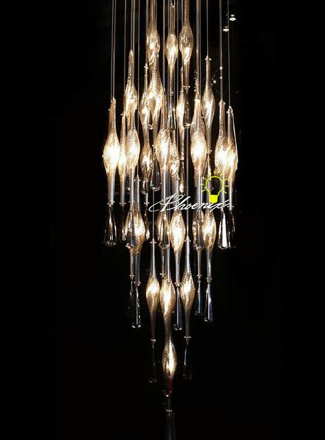 Handmade Chandeliers Lighting - handmade ripple glass stairs chandelier contemporary