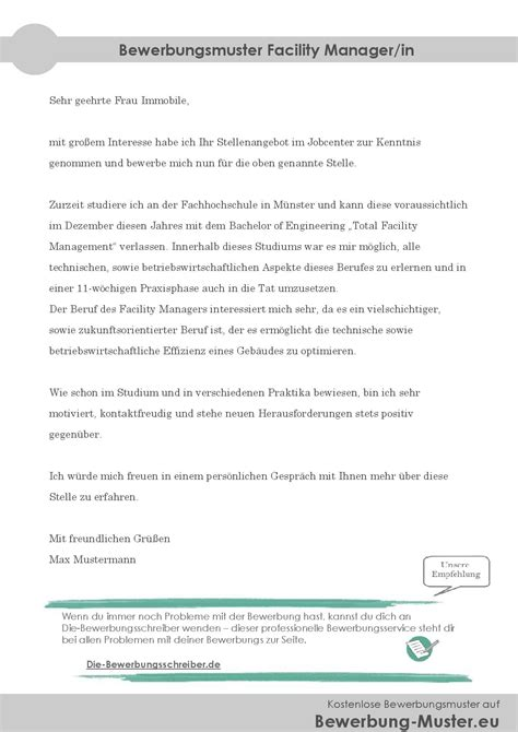 Initiativbewerbung Anschreiben Chemikant Bewerbungsmuster Facility Manager In