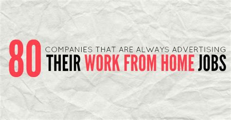 Online Work From Home Companies - 80 companies that are always advertising their work at