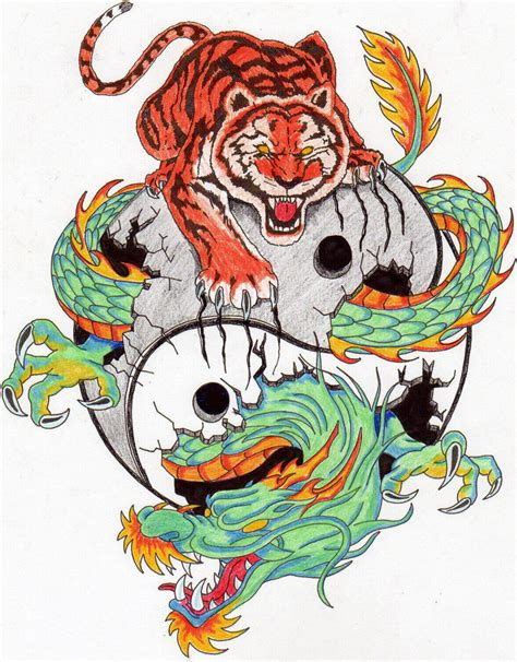 tiger dragon tattoo designs angry tiger sitting on yin yang crashed by