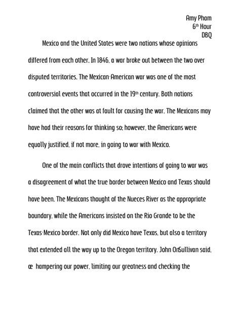 Apush Essay Mexican American War by Dbq Was The United States Justified In Going To War With Mexico