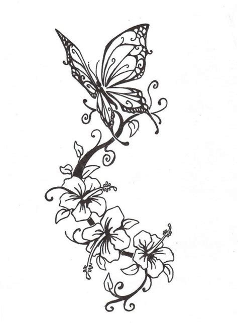 design flower and butterfly flower tattoos