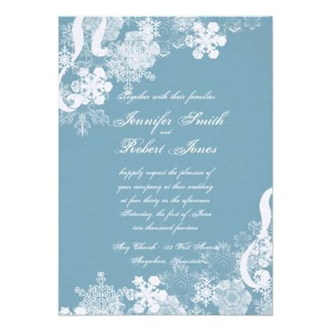 Wedding Winter Background by Winter Blue And White Snowflake Wedding Invitation
