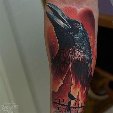 tattoo new school crow new school style colored forearm tattoo of crow with old