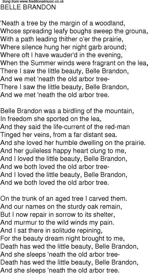 Old Time Song Lyrics for 02 Belle Brandon
