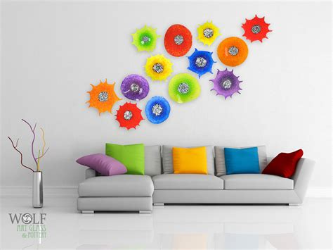 modern glass wall decor blown glass wall sculptures flowers rondels at