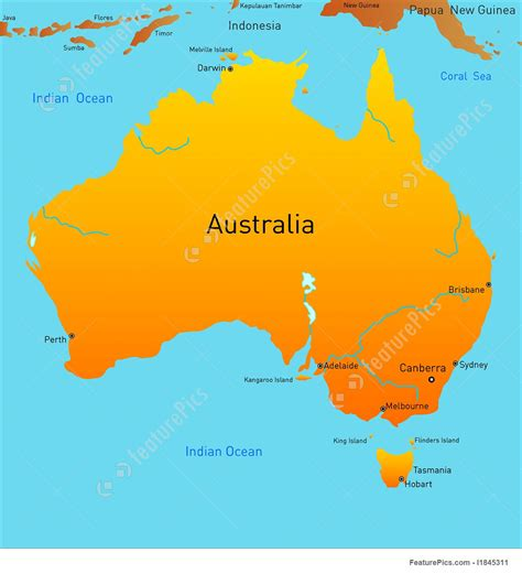 australia continent map illustration of map of australian continent