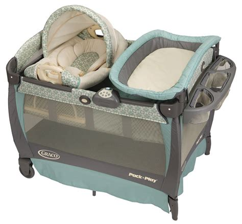 Graco Pack N Play With Bassinet And Changing Table Graco Blue Pack N Play Playard W Cuddle Cove Rocking Seat Travel Bassinet Crib Ebay