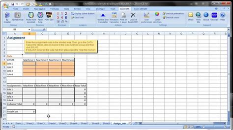 Tutorial Excel Om | excel om qm tutorials using excel s solver youtube