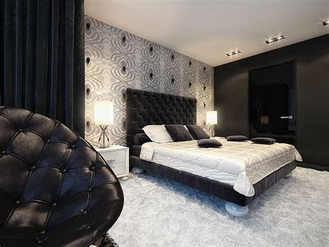 black and white bedrooms with a splash of color splash of color in a black white environment