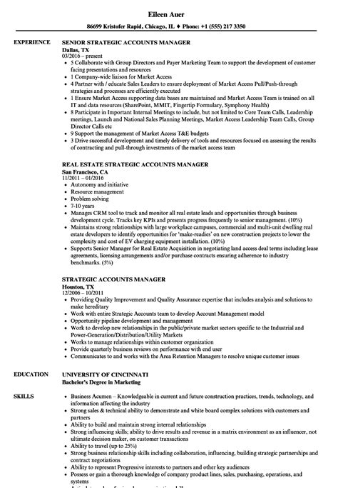 strategic accounts manager resume sles velvet