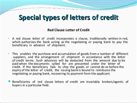 Credit Letter Types Letters Of Credit
