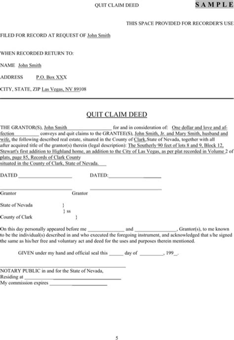 Download Nevada Quitclaim Deed Form For Free Formtemplate Free Nevada Will Template