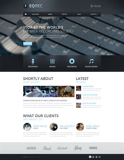 recording studio responsive website template web design